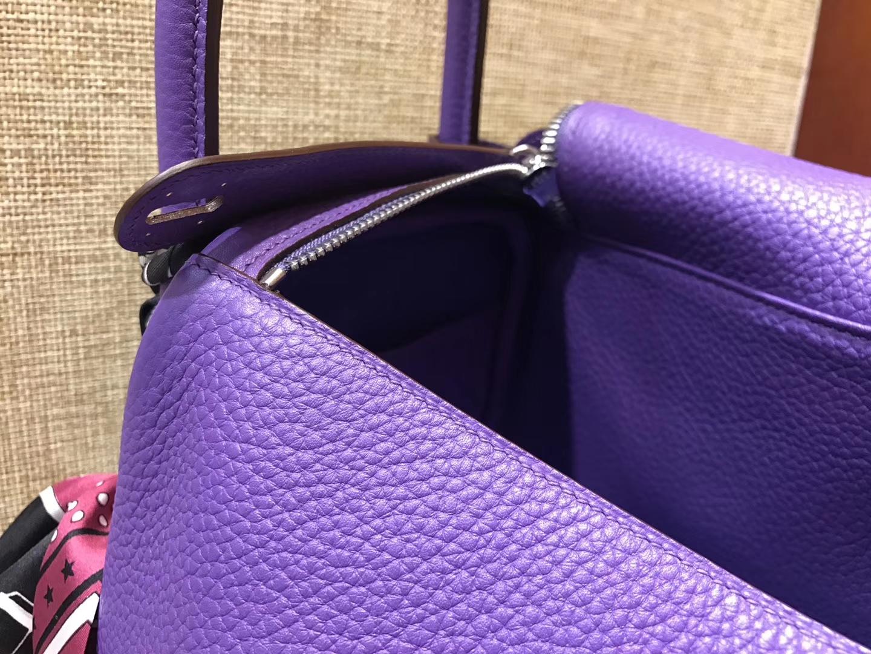 Hermès(爱马仕)Lindy琳迪包 梦幻紫 德国进口togo牛皮 全手工缝制 银扣 30cm