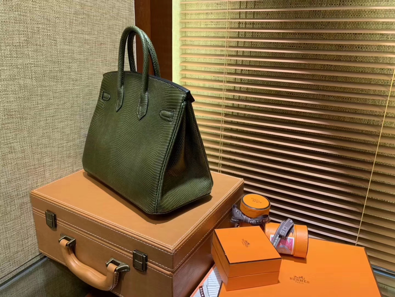Hermès(爱马仕)Birkin铂金包 橄榄绿 南非鱼野生蜥蜴皮 原版蜜蜡线 金扣 25cm