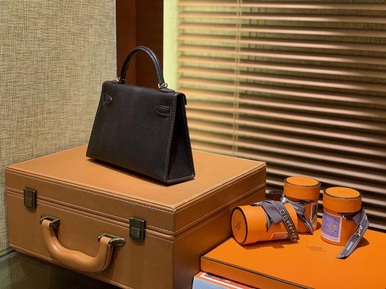 Hermès(爱马仕)迷你2代 mini Kelly 黑色 进口野生蜥蜴皮 全手工缝制 19cm