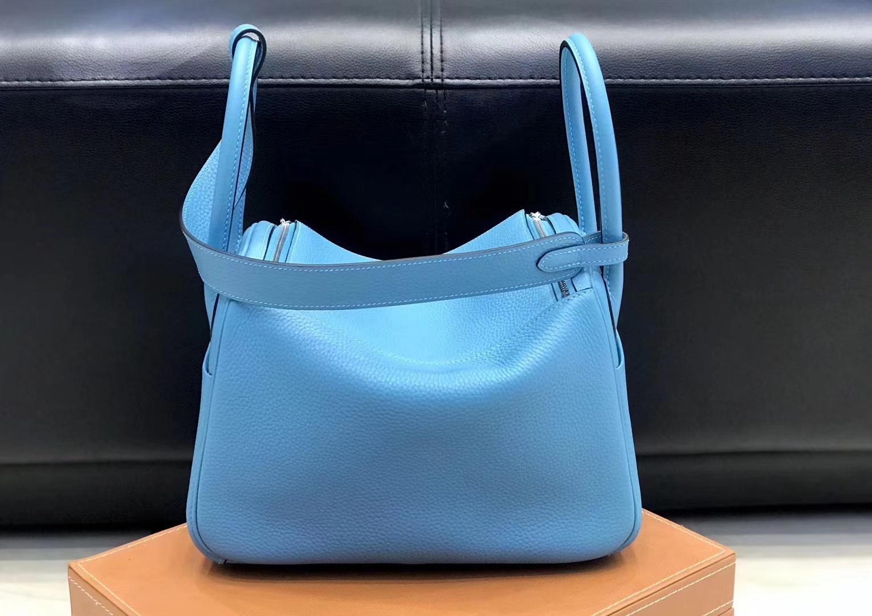 Hermès(爱马仕)Lindy琳迪包 北方蓝 德国进口togo牛皮 蜡线全手工缝制 26cm