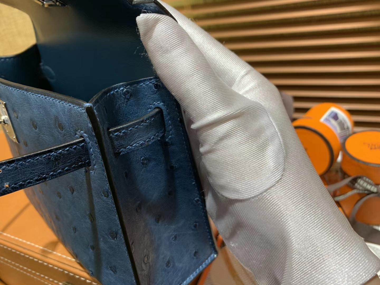 Hermès(爱马仕)迷你2代 mini Kelly 藏青色 南非KK鸵鸟 全手工缝制 19cm