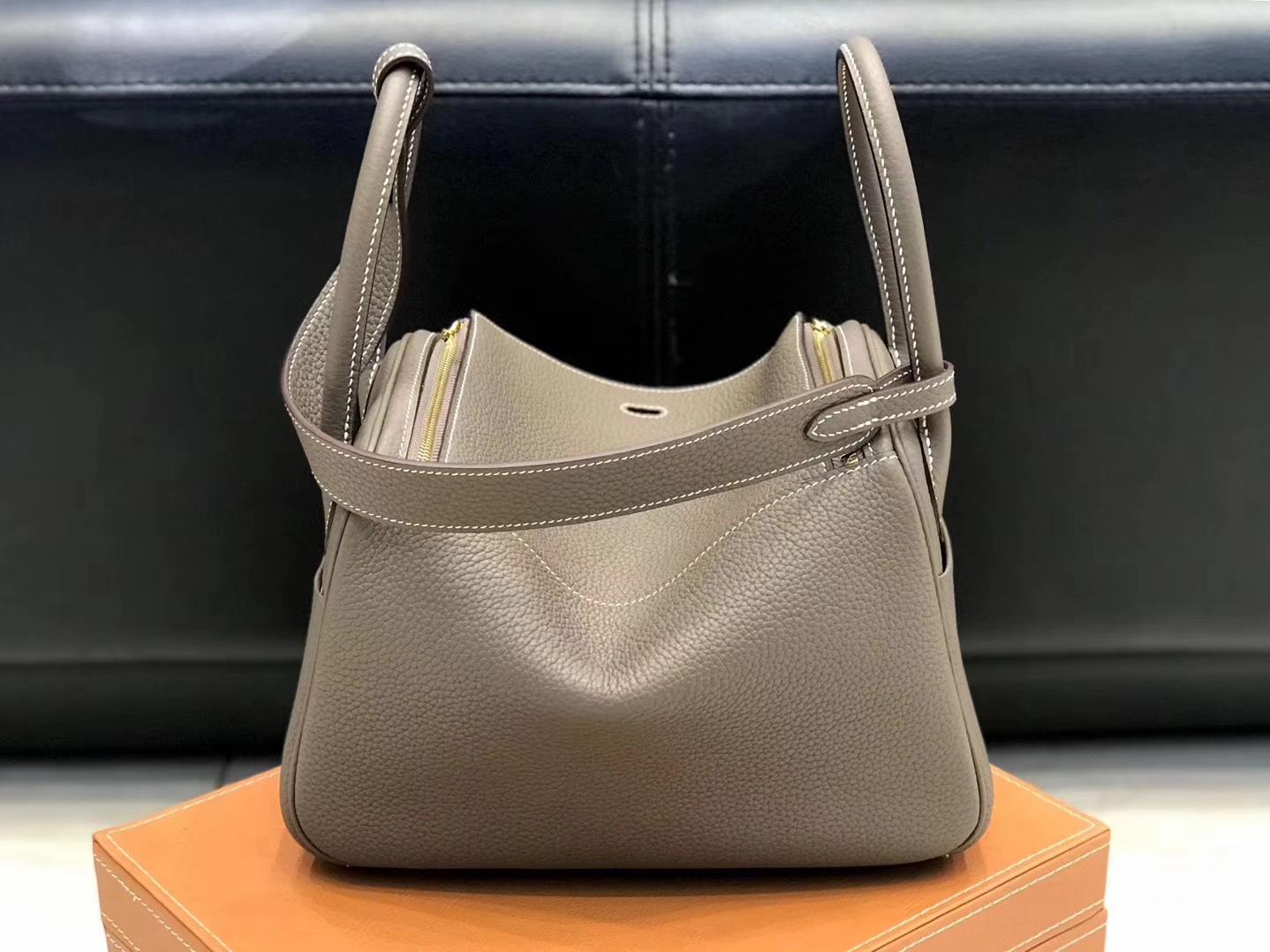 Hermès(爱马仕)Lindy琳迪包 大象灰 德国进口togo牛皮 蜡线全手工缝制 26cm