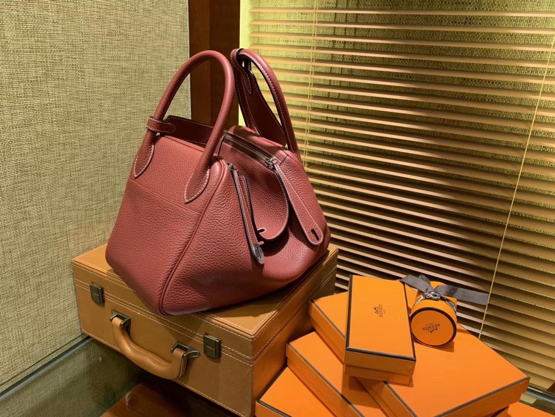 Hermès(爱马仕)Lindy琳迪包 石榴红 德国进口togo牛皮 全手工缝制 银扣 30cm