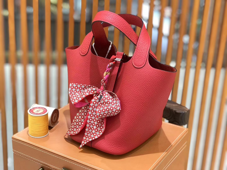 Hermès(爱马仕)新增现货 Picotin 菜篮子 国旗红 全手工蜡线缝制 银扣 18cm