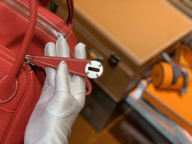 Hermès(爱马仕)Lindy琳迪包 红色 德国进口togo牛皮 全手工缝制 银扣 30cm