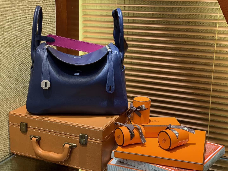 Hermès(爱马仕)Lindy琳迪包 蓝拼枚紫 德国进口swift牛皮 全手工缝制 银扣 30cm