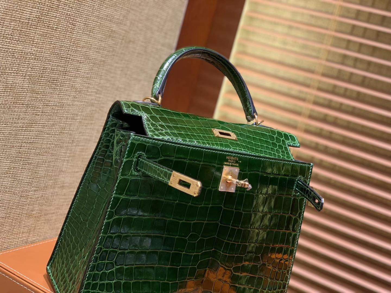 Hermès(爱马仕)Kelly 25cm 祖母绿 尼罗鳄鱼皮 顶级蜡线全手工