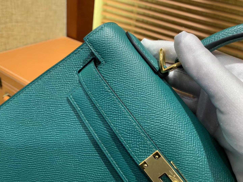 Hermès(爱马仕)Kelly凯莉包 孔雀绿 德国掌纹牛皮 臻品级别 金扣 28cm