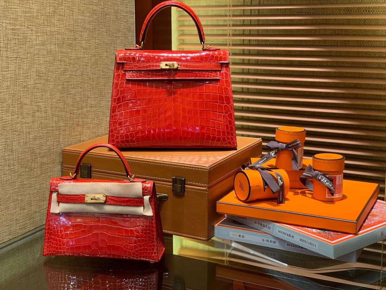 Hermès(爱马仕)Kelly 25cm 法拉利红 尼罗鳄鱼皮 顶级蜡线全手工
