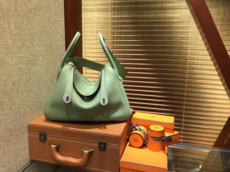 Hermès(爱马仕)Lindy琳迪包 抹茶绿 德国进口togo牛皮 全手工缝制 银扣 30cm