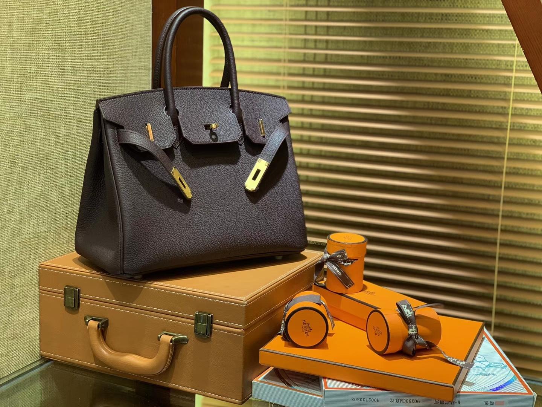 Hermès(爱马仕)Birkin铂金包 摩卡色 德国togo小牛皮 原版蜜蜡线 顶级手缝 金扣 30cm
