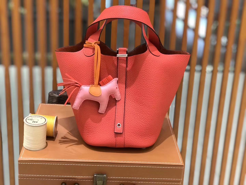 Hermès(爱马仕)新增现货 Picotin 菜篮子 橘红色 全手工蜡线缝制 银扣 18cm