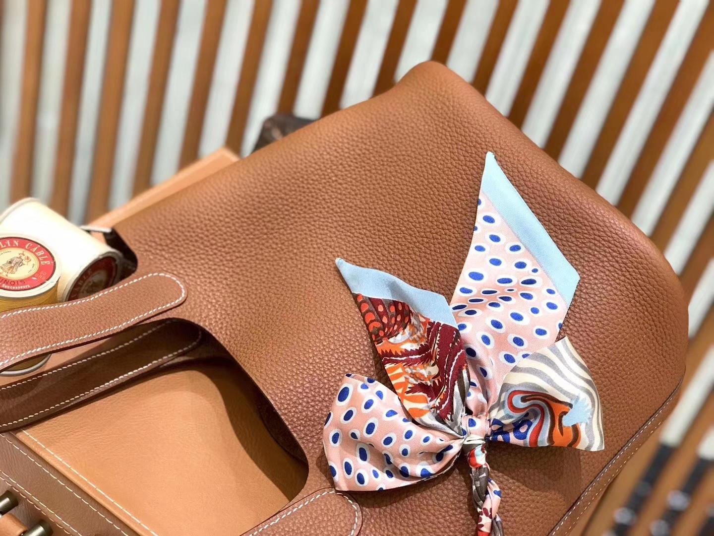 Hermès(爱马仕)新增现货 Picotin 菜篮子 金棕色 全手工蜡线缝制 金银扣 18cm