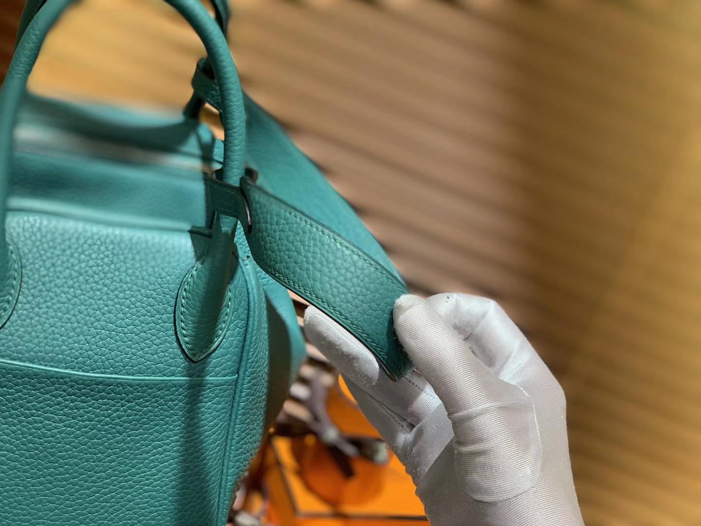 Hermès(爱马仕)Lindy琳迪包 丝绒绿 德国进口togo牛皮 全手工缝制 银扣 26cm