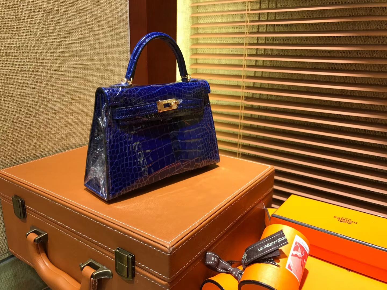 Hermès(爱马仕)Mini Kelly 深蓝色 一级美洲鳄鱼皮 全手工缝制 臻品级别 金扣 19cm 2代