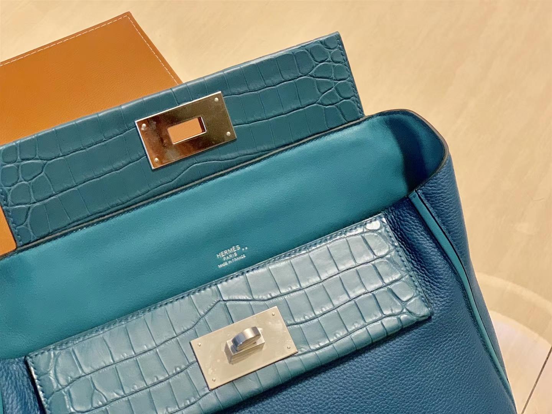 Hermès(爱马仕)Kelly-2424 宝蓝色 鸵鸟皮拼鳄鱼皮 顶级手缝 金扣 29cm