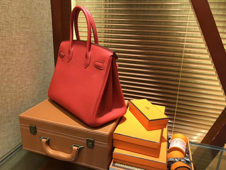 Hermès(爱马仕)Birkin铂金包 罂粟橘 德国togo小牛皮 原版蜜蜡线 顶级手缝 金扣 30cm