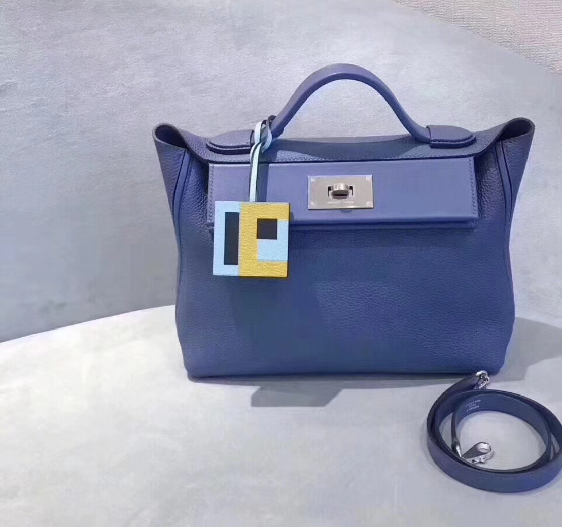 Hermès(爱马仕)Kelly-2424 明蓝色 原厂御用顶级小牛皮拼Swift皮 togo 银扣 29cm