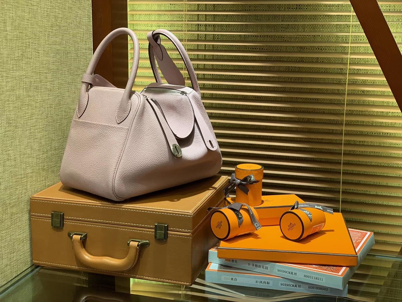 Hermès(爱马仕)Lindy琳迪包 丁香紫 德国进口togo牛皮 全手工缝制 银扣 30cm