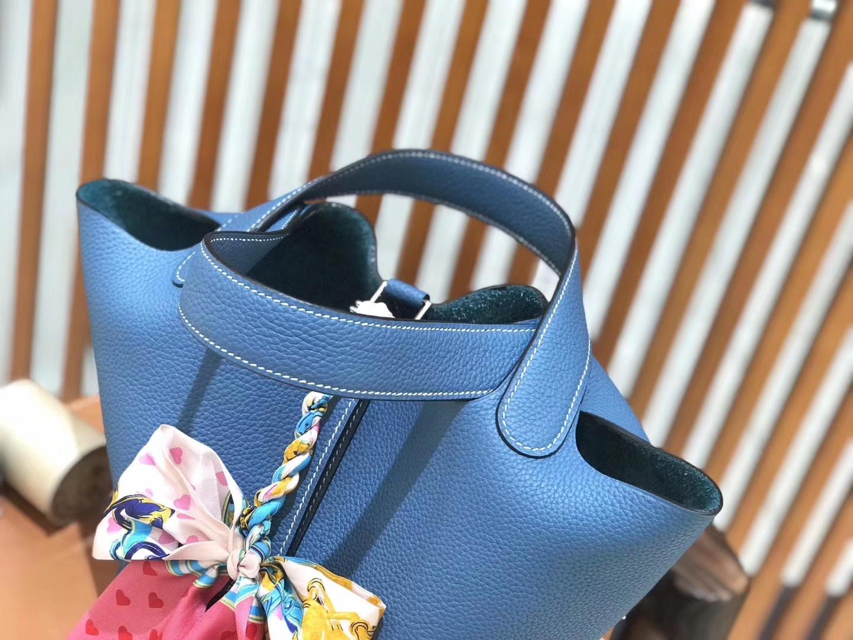 Hermès(爱马仕)新增现货 Picotin 菜篮子 牛仔蓝 全手工蜡线缝制 银扣 18cm