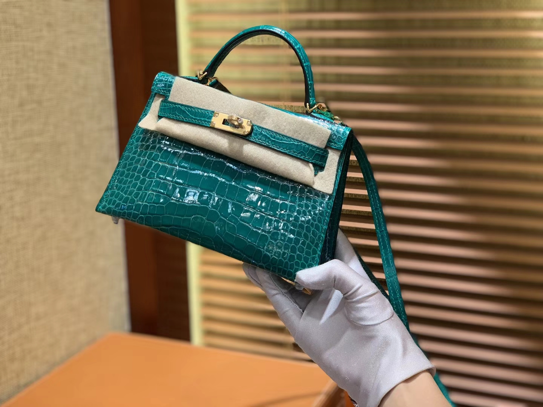 Hermès(爱马仕)Mini Kelly 祖母绿 一级美洲鳄鱼皮 全手工缝制 臻品级别 金扣 19cm 2代