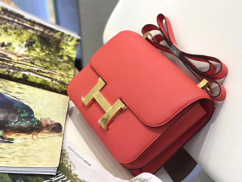 Hermès(爱马仕)Constance 空姐包 西瓜红 掌纹牛皮 金扣 23cm