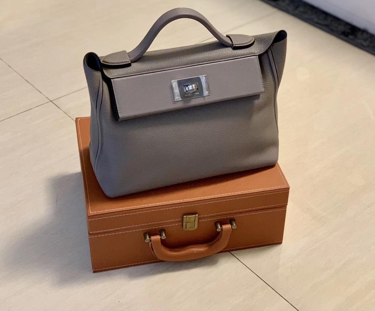 Hermès(爱马仕)Kelly-2424 斑鸠灰 原厂御用顶级小牛皮拼Swift皮 togo 银扣 29cm