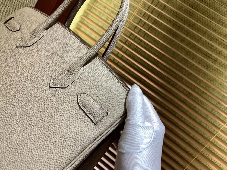 Hermès(爱马仕)Birkin铂金包 斑鸠灰 德国togo小牛皮 原版蜜蜡线 顶级手缝 金扣 30cm