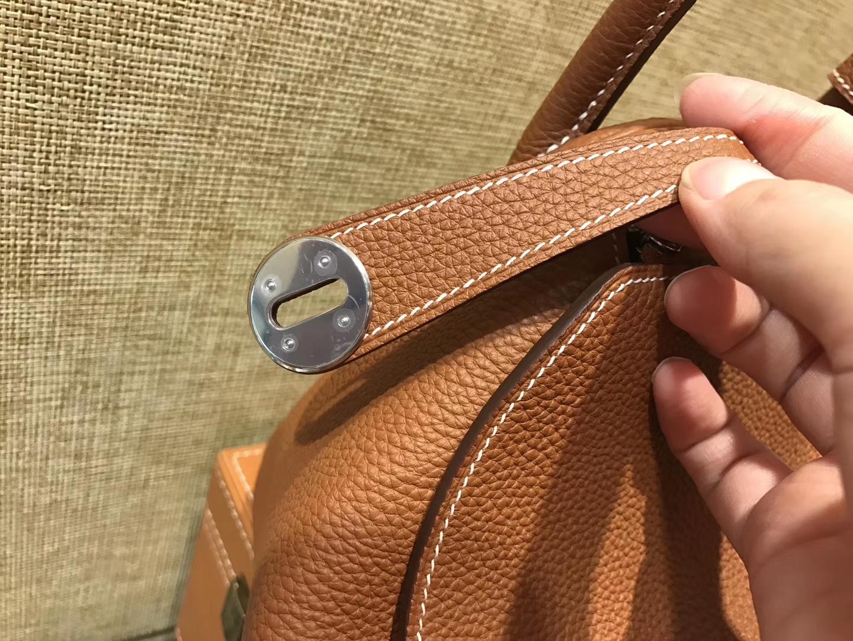 Hermès(爱马仕)Lindy琳迪包 金棕色 德国进口togo牛皮 全手工缝制 银扣 30cm