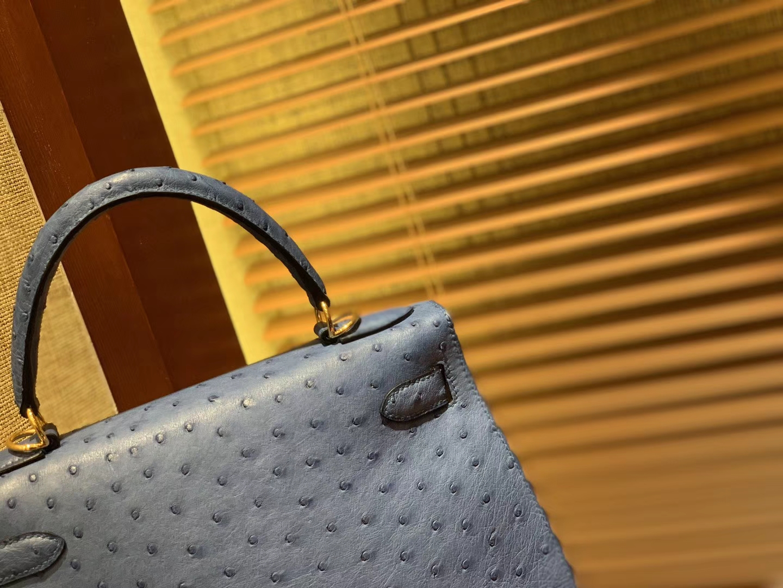 Hermès(爱马仕)Kelly凯莉包 玛瑙蓝 南非进口KK级鸵鸟 顶级手缝版本 24K金扣 28cm