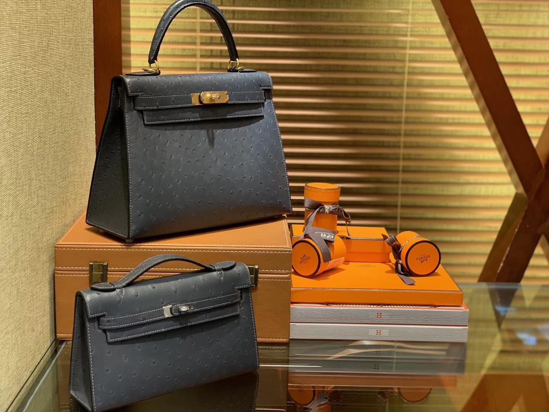 Hermès(爱马仕)Kelly凯莉包 锡器灰 南非进口KK级鸵鸟 顶级手缝版本 24K金扣 28cm