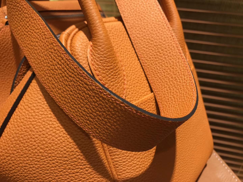 Hermès(爱马仕)Lindy琳迪包 经典橙 德国进口togo牛皮 全手工缝制 银扣 30cm
