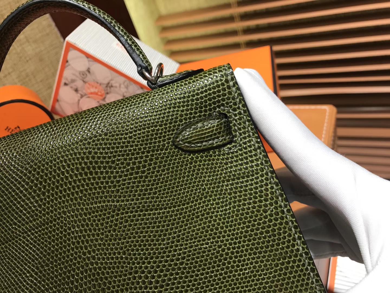 Hermès(爱马仕)迷你2代 mini Kelly 丛林绿 进口野生蜥蜴皮 全手工缝制 19cm