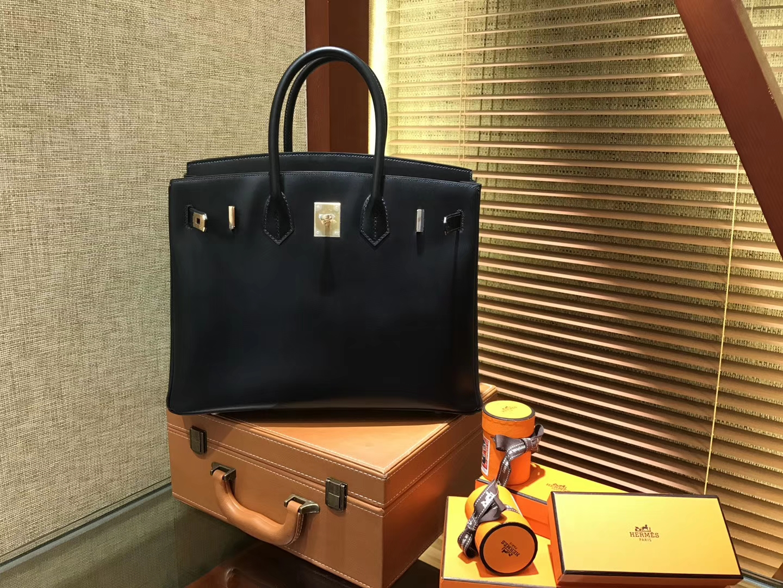 Hermès(爱马仕)Birkin铂金包 经典黑金 德国BOX牛皮 原版蜜蜡线 顶级手缝 金扣 35cm
