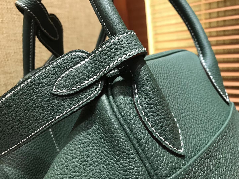 Hermès(爱马仕)Lindy琳迪包 墨绿色 德国进口togo牛皮 全手工缝制 银扣 30cm