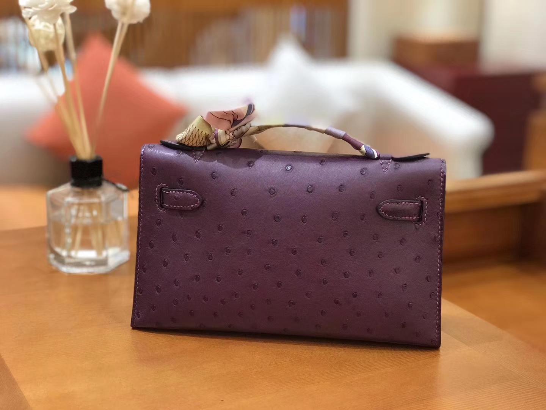 Hermès(爱马仕)miniKelly 迷你凯莉 海葵紫 南非kk级鸵鸟皮 金扣 22cm