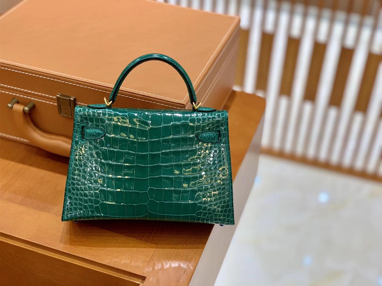 Hermès(爱马仕)Mini Kelly 迷你凯莉 翡翠绿 一级美洲鳄鱼皮 臻品级别 金扣 19cm