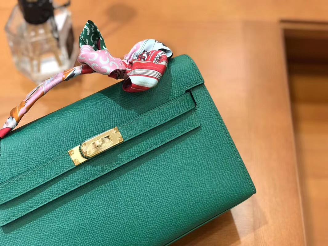 Hermès(爱马仕)Mini Kelly迷你凯莉 丝绒绿 Epsom掌纹皮 臻品级别 1代 金扣 22cm