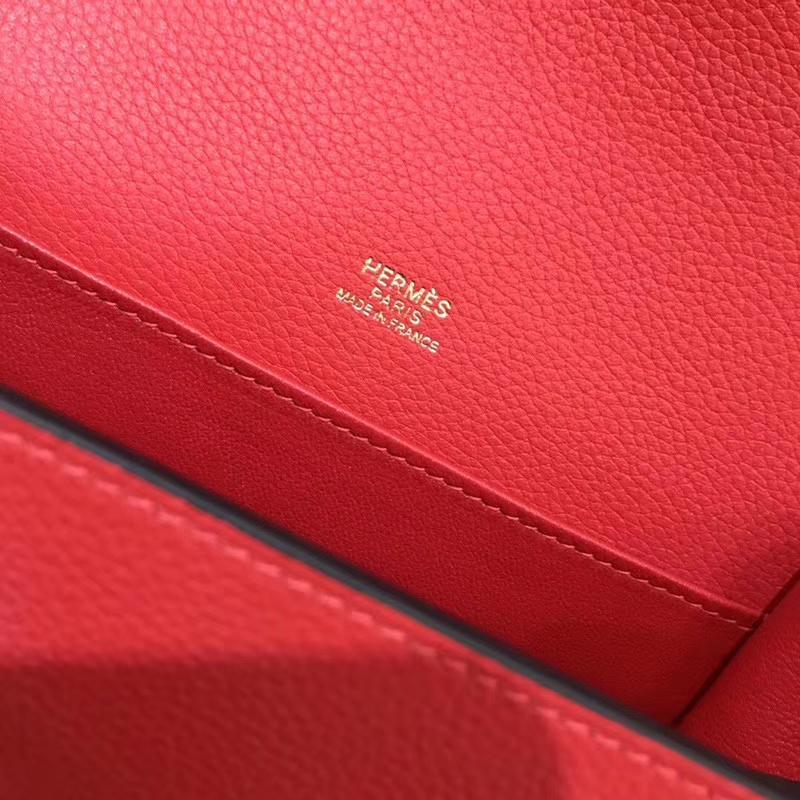 Hermès(爱马仕)Rouils 猪鼻包 石榴红 Evercolor 金扣 18cm