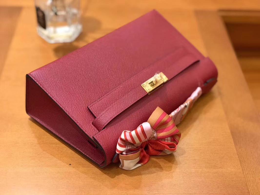 Hermès(爱马仕)Mini Kelly迷你凯莉 石榴红 Epsom掌纹皮 臻品级别 1代 金扣 22cm