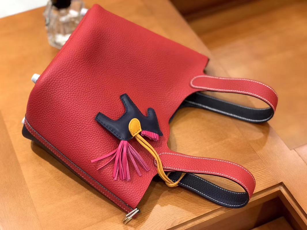 Hermès(爱马仕)Picotin 菜篮包 芍药红拼午夜蓝 TC大牛皮 银扣 18cm