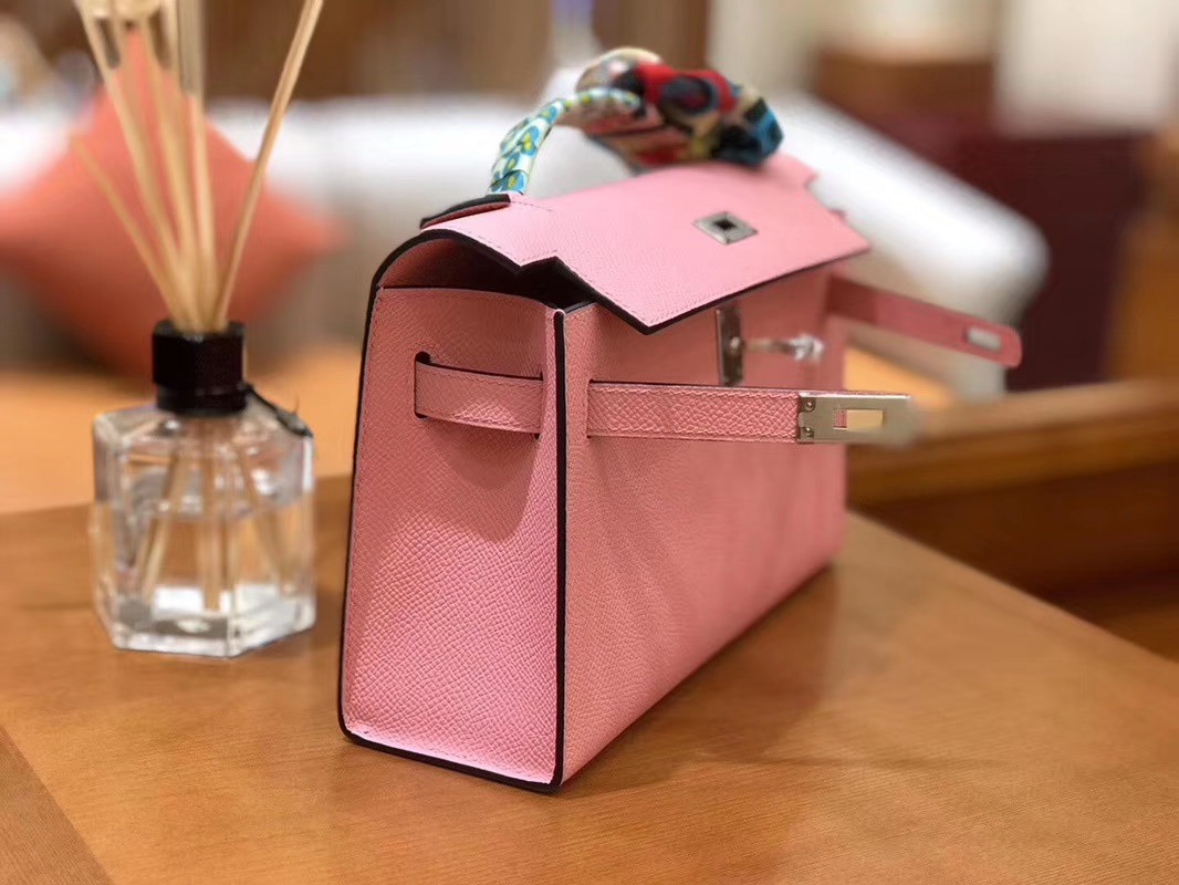 Hermès(爱马仕)Mini Kelly迷你凯莉 樱花粉 Epsom掌纹皮 臻品级别 1代 银扣 22cm