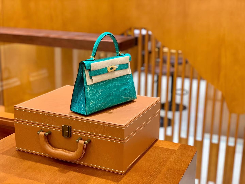 Hermès(爱马仕)Mini Kelly 迷你凯莉 U1 维罗纳绿 亮面鳄鱼 一级 顶端级别 美洲 臻品级别 金扣 19cm