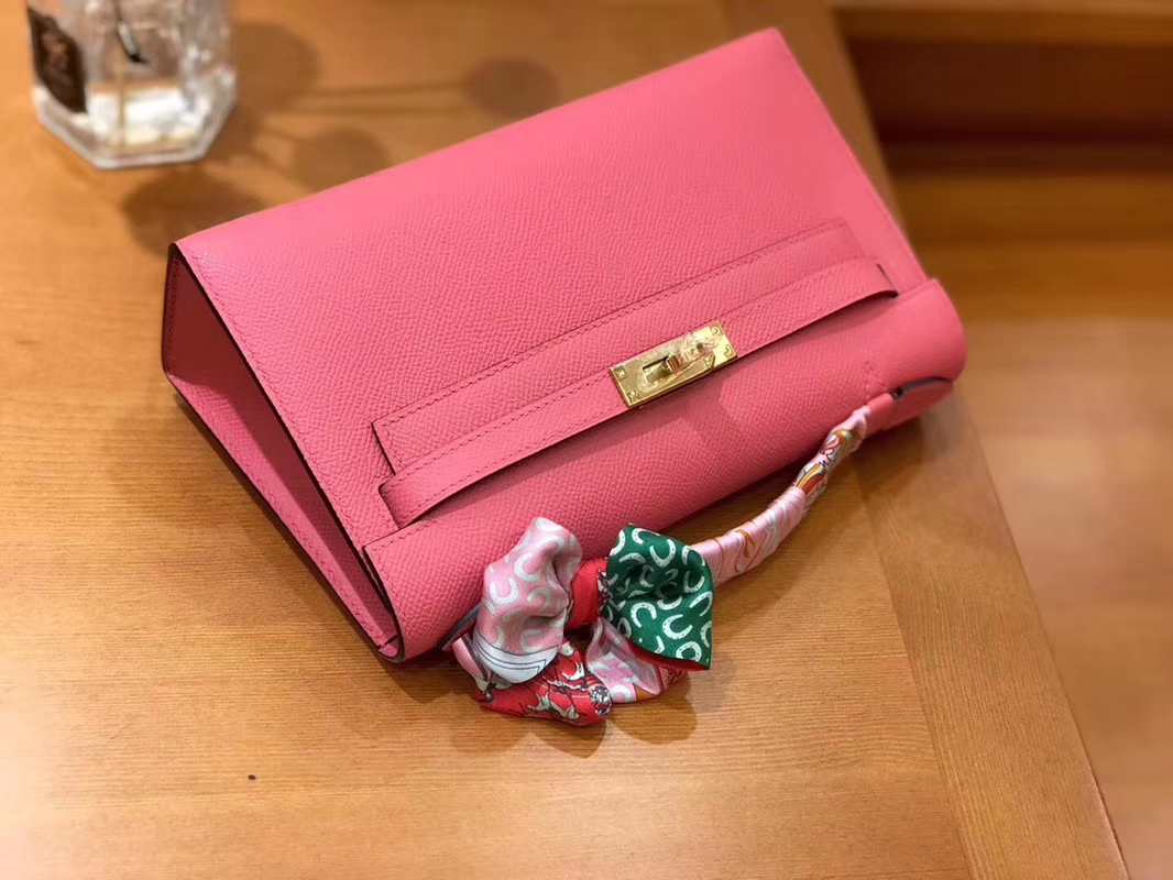 Hermès(爱马仕)Mini Kelly迷你凯莉 唇膏粉 Epsom掌纹皮 臻品级别 1代 金扣 22cm