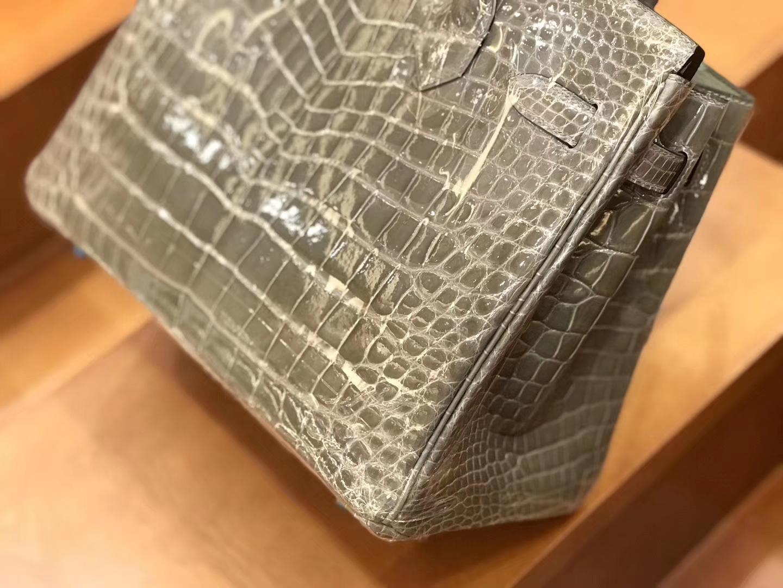 Hermès(爱马仕)新增现货 birkin 铂金包 斑鸠灰 一级鳄鱼皮 30cm