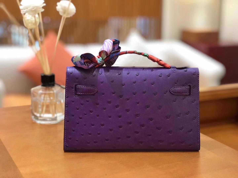 Hermès(爱马仕)miniKelly 迷你凯莉 梦幻紫 南非kk级鸵鸟皮 金扣 22cm