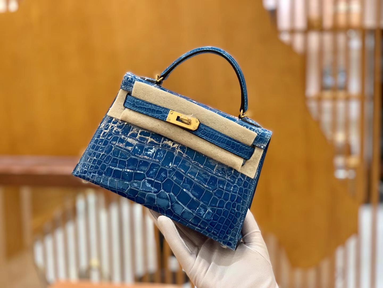 Hermès(爱马仕)Mini Kelly 迷你凯莉 伊滋密尔蓝 一级美洲鳄鱼皮 臻品级别 金扣 19cm