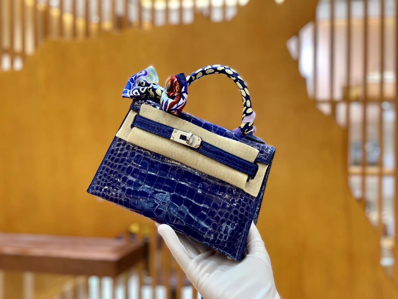 Hermès(爱马仕)Mini Kelly 迷你凯莉 琉璃蓝 亮面鳄鱼 一级 顶端级别 美洲 臻品级别 银扣 19cm