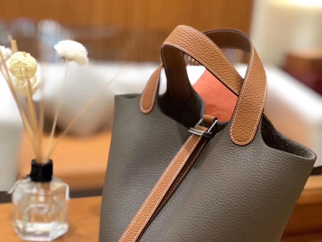 Hermès(爱马仕)Picotin菜蓝包 TC金棕拼大象灰 18cm 22cm
