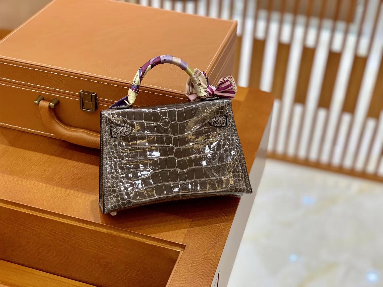 Hermès(爱马仕)Mini Kelly 迷你凯莉 锡器灰 一级美洲鳄鱼皮 臻品级别 银扣 19cm